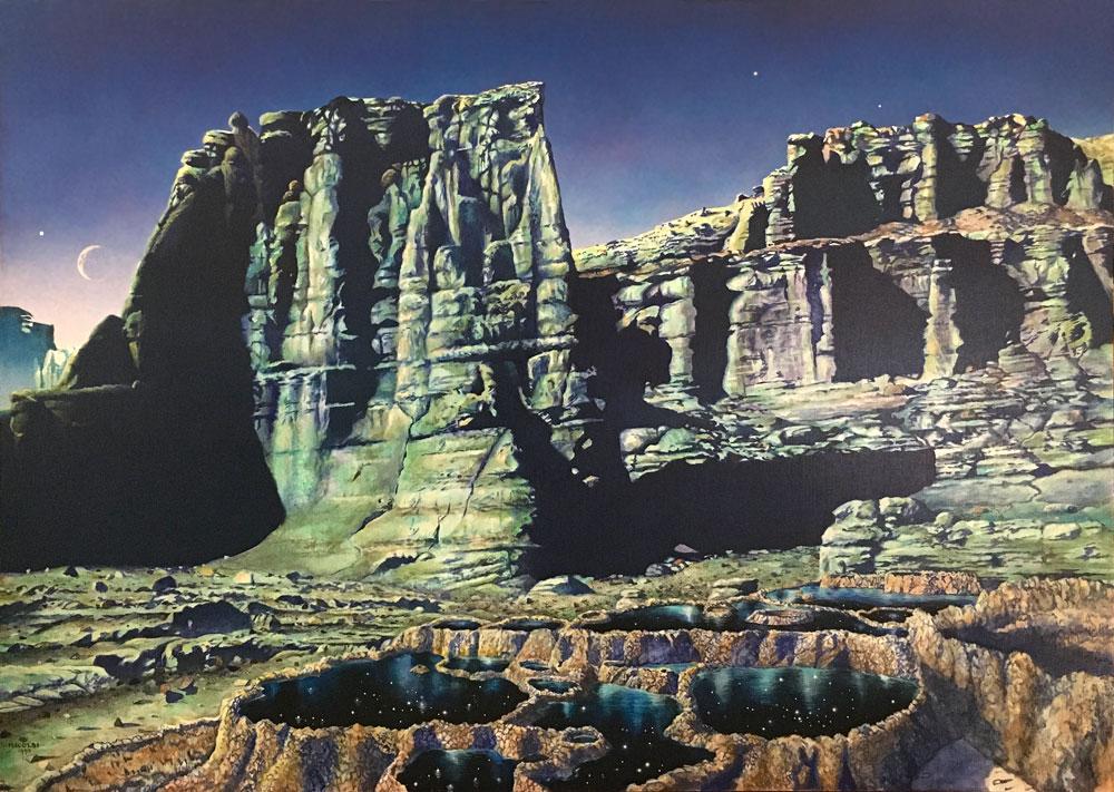"""Nicolai Larsen Starpools, 1993 acrylic on canvas, 40"""" x 56"""""""