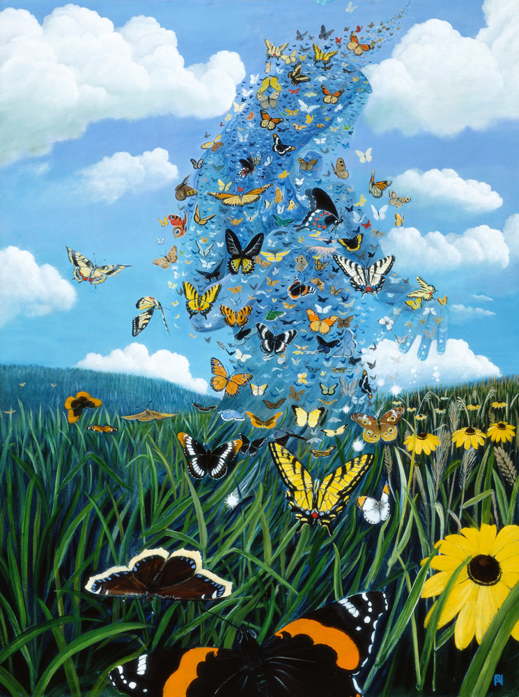 """Paul Nicolson Butterfly Mystic, 2003 oil on canvas, 48"""" x 36"""" Artist Collection"""