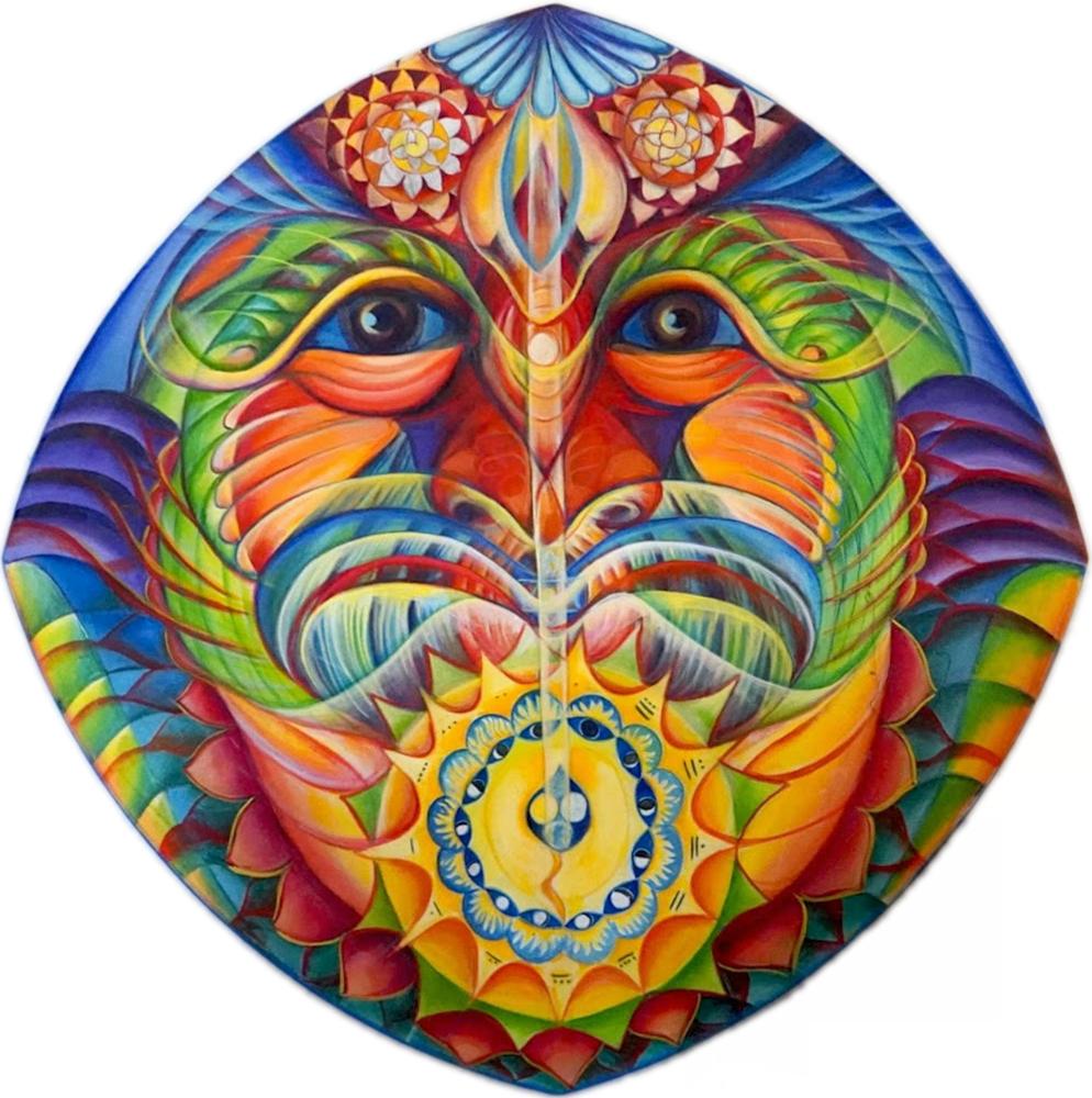"""Susan Kelk Cervantes, Eyes of Time, 2017 acrylic on canvas, 36"""" x  36"""""""