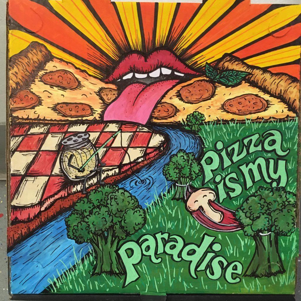 """""""Pizza Paradise"""" - Acrylic & Sharpies by Kelly Thomas"""