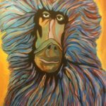 "Cheney LaRue, ""Baboon"", acrylic on canvas, 16""x20"""